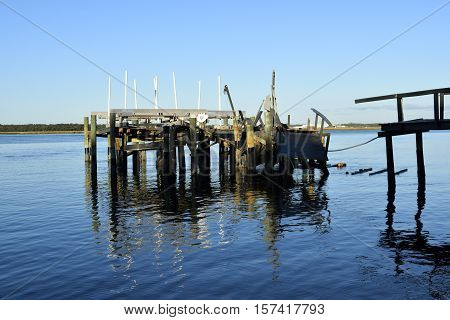 VILANO BEACH, FLORIDA, USA - OCTOBER 18, 2016: Aftermath of private boat dock damage caused by hurricane Matthew hitting along the east coast of Florida on October 7, 2016.