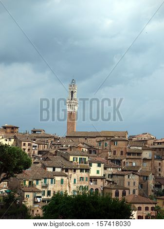 Siena - panorama of the old part of town with a slender tower Torre del Manga