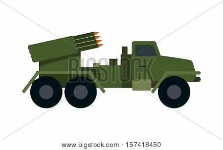 Military vehicle with rockets isolated. Type of vehicle that includes all land combat and transportation vehicles used by military forces. Has vehicle armour plate and off-road capabilities. Vector