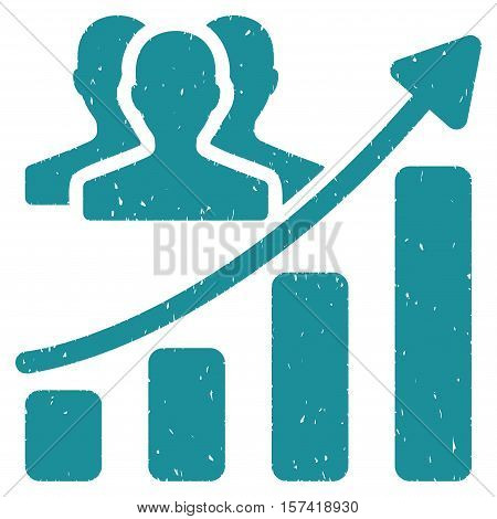 Audience Growth Chart grainy textured icon for overlay watermark stamps. Flat symbol with dirty texture. Dotted vector soft blue ink rubber seal stamp with grunge design on a white background.