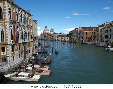 VENICE, ITALY - MAY 22, 2010: Venice - View of Canal Grande and Salute