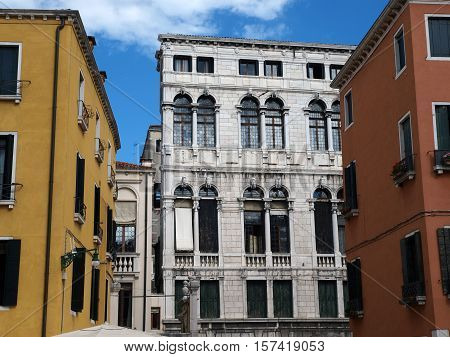 Venice - The buildings on the Campo San Stefano one of the largest squares in Venice