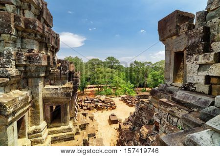 View Of Ruins Of Ancient Ta Keo From Top Of Temple, Cambodia