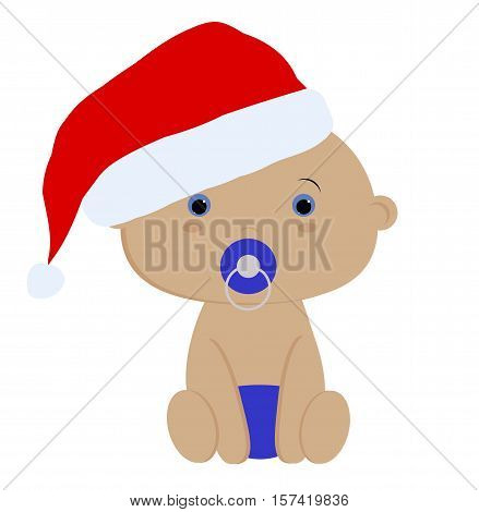 icon color cute baby boy in Santa hat on white background. Baby vector illustration. Baby shower or arrival