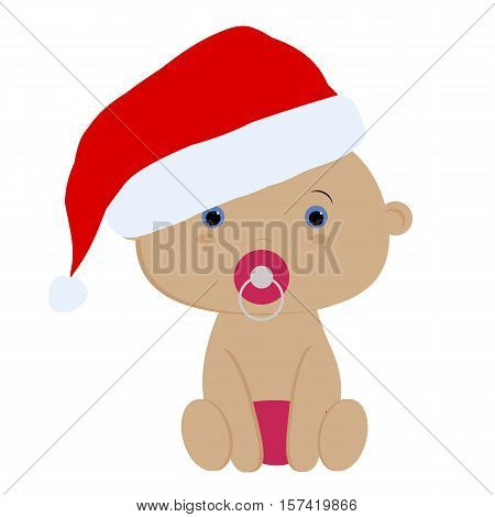 icon color cute baby girl in Santa hat on white background. Baby vector illustration. Baby shower or arrival