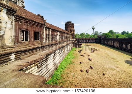 Wall Of Gallery In Ancient Temple Complex Angkor Wat, Cambodia