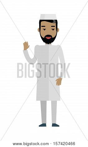 Handsome arab man with cheerful attitude. Arab man in white traditional clothing waving his hand. Smiling young man personage in flat design isolated on white background. Vector illustration.