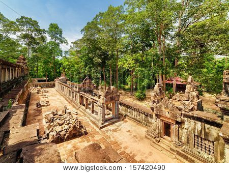 Top View Of Galleries Of Ancient Ta Keo Temple In Angkor