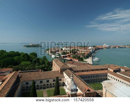 VENICE, ITALY - MAY 23, 2010: Venice - view from the tower of the church of San Giorgio Magiore