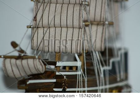 Shipping. Ship handwork on a stand, collection