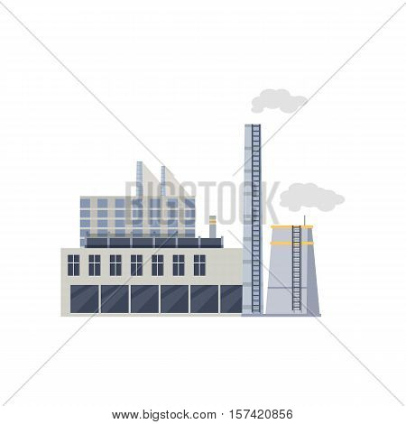 Industry manufactory building icon. Factory producing oil and gas, metals and rubber, energy and power. Nuclear manufacturing station making smoke and air pollution. Destroying nature. Vector
