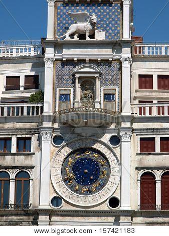 VENICE, ITALY - MAY 23, 2010: Venice Torre dell'Orologio - St Mark's clocktower