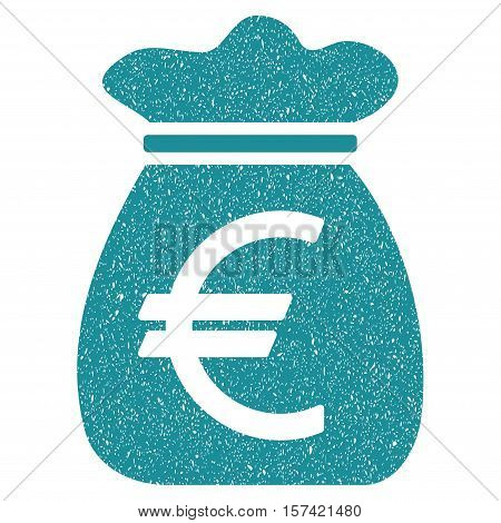 Euro Money Bag grainy textured icon for overlay watermark stamps. Flat symbol with dust texture. Dotted vector soft blue ink rubber seal stamp with grunge design on a white background.