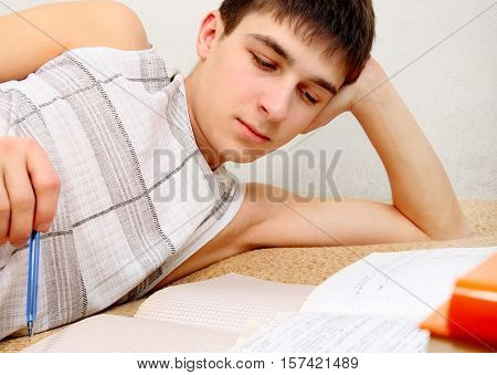 Teenager doing Homework on the Couch at the Home
