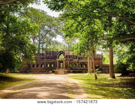 Road In Rainforest And Ta Kou Entrance In Angkor Wat, Cambodia