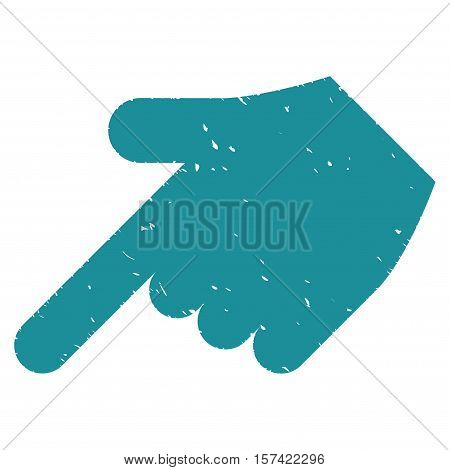 Hand Pointer Left Down grainy textured icon for overlay watermark stamps. Flat symbol with scratched texture. Dotted vector soft blue ink rubber seal stamp with grunge design on a white background.