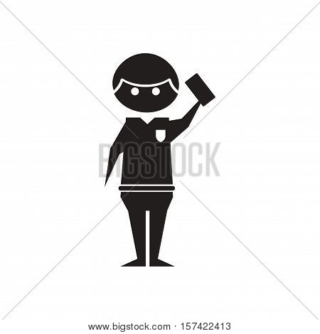 Flat icon in black and  white referee