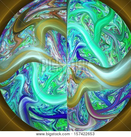Tree of life in area. Glow plasma in bowl. 3D surreal illustration. Sacred geometry. Mysterious psychedelic relaxation pattern. Fractal abstract texture. Digital artwork graphic astrology magic
