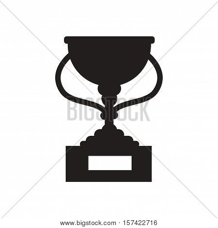 Flat icon in black and  white football cup