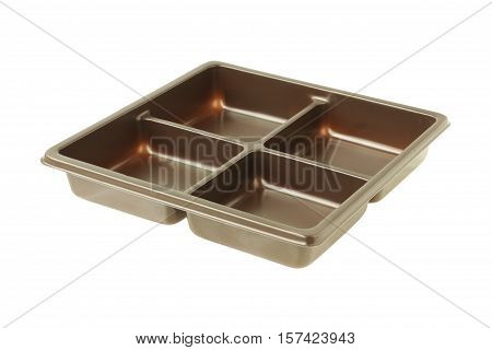 Brown Bakery Tray Package isolated on white background clipping path