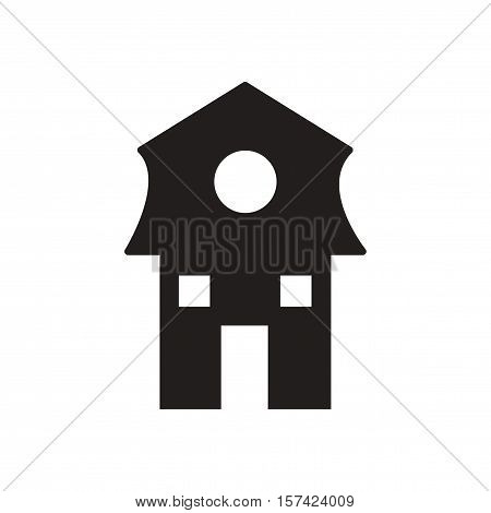Flat icon in black and  white Dutch house