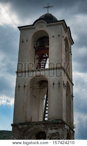 The belfry of Kovachevitsa village's church, Bulgaria