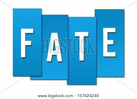 Fate text alphabets written over blue background.