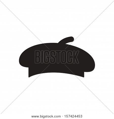 Flat icon in black and  white beret