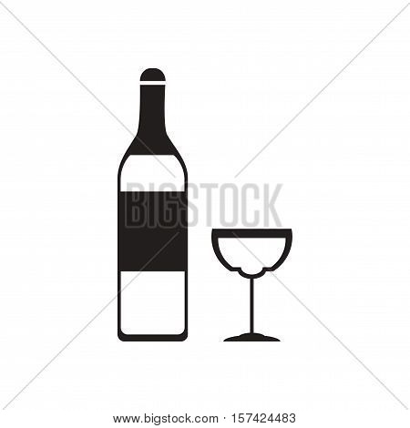 Flat icon in black and  white glass wine bottle