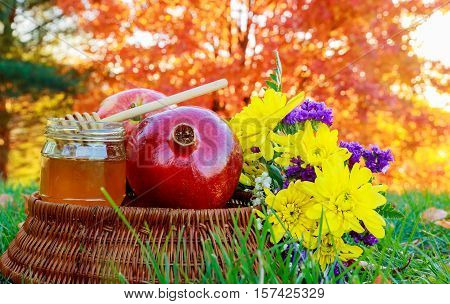 Autumn Honey Apple Pomegranates On Table Background Of  Garden