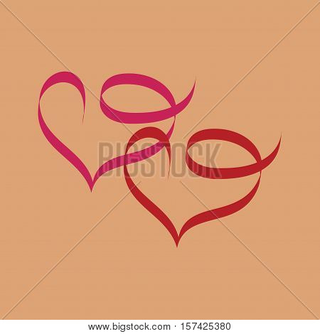 Heart two ribbon. illustration of pink ribbon day valentine symbol holiday. Romantic symbol linked join love passion and wedding. Isolated graphic element. Flat vector image. Vector illustration