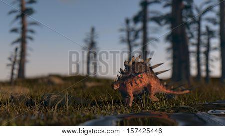3d illustration of the kentrosaurus dinosaur