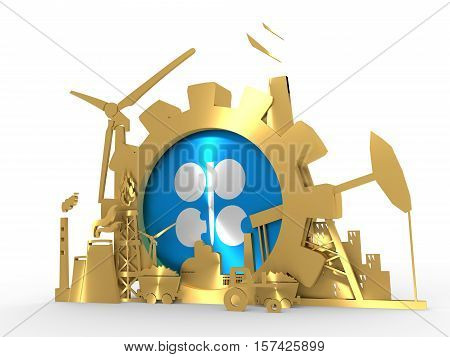 January 15, 2016: An illustration of the energy and power 3D icons set with OPEC flag. 3D rendering. Golden material
