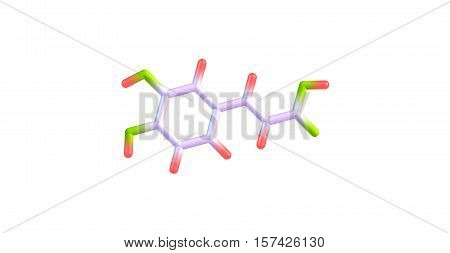 Caffeic acid is an organic compound or hydroxycinnamic acid. This yellow solid consists of both phenolic and acrylic functional groups. 3d illustration