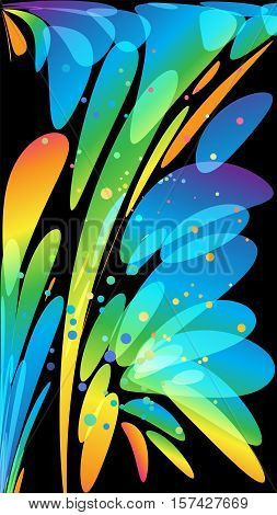 Colorful abstract elements on black vertical background