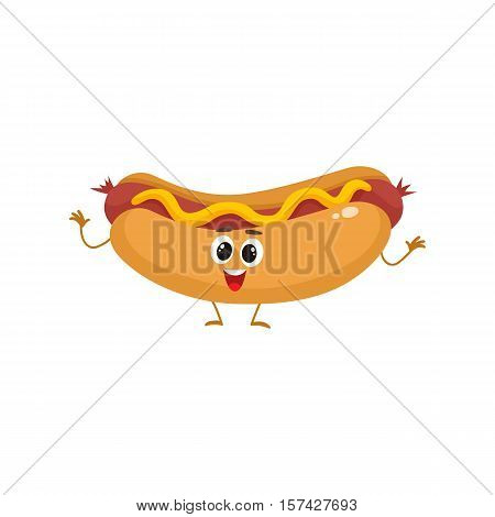 Funny hot dog fast food kids menu character, cartoon style vector illustration isolated on white background. Funny hot dog, wiener, frankfurter character with eyes, legs, and a wide smile