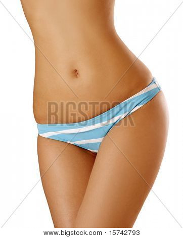slim woman body on white background