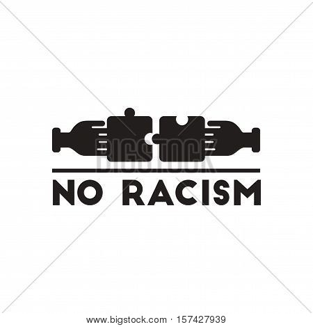Flat icon in black and  white racism