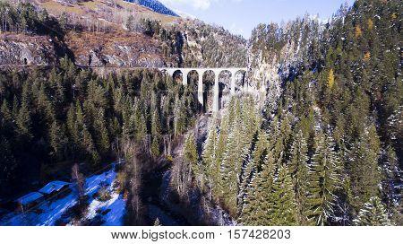 beautiful Landwasser Viaduct in Switzerland aerial view poster