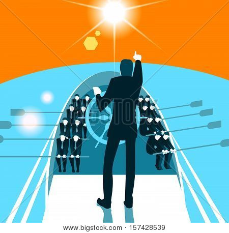 Teamwork, Cooperation, Nautical Vessel, Togetherness, Team. Vector illustration