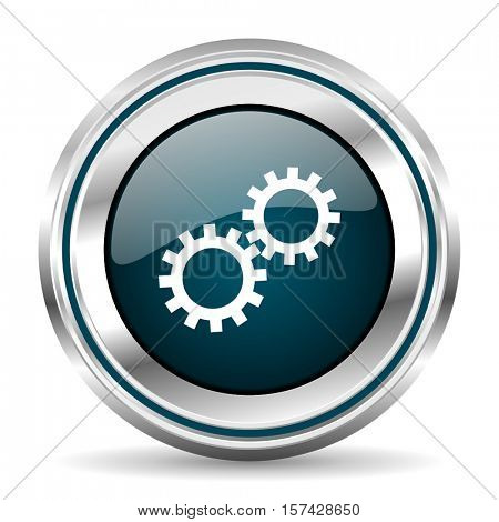 Gears vector icon. Chrome border round web button. Silver metallic pushbutton.