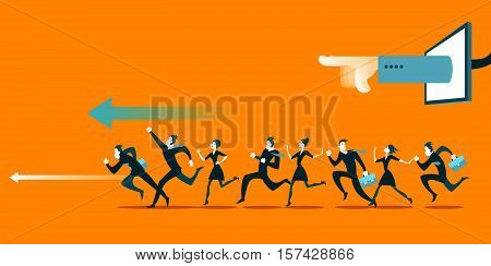 The hand indicates the direction of the group. Vector illustration