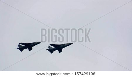 A fighter plane flying over military parade in Novi Sad Serbia 2016