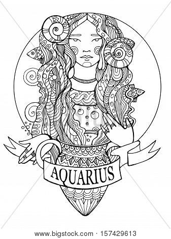 Aquarius zodiac sign coloring book for adults vector illustration. Anti-stress coloring for adult. Tattoo stencil. Zentangle style. Black and white lines. Lace pattern