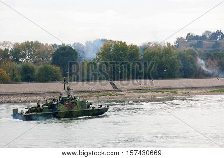 Battleships on river Danube during the military parade in Novi Sad Serbia 2016