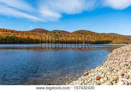 Harriman Reservoir in Vermont. Fall foliage at peak season