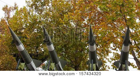 Anti-air missiles on louncher durin military parade Novi Sad Serbia 2016