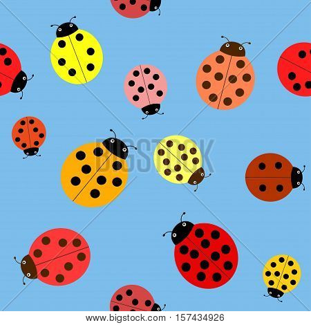 Seamless the ladybugs on a blue background.