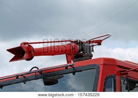 A Foam Spray Nozzle on the Roof of a Fire Engine.