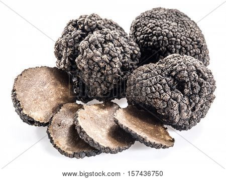 Black truffles isolated on a white background.Truffle slice.